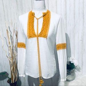 Tory Burch White Cotton Crochet Blouse Size 6